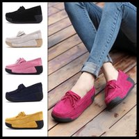 Wholesale pink suede wedges - Suede Leather Walking Shoes Wedge Shake Shoes Fashion Platform Shoes Female Shake Women Platform Sneakers
