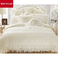 Wholesale ruffled bedding queen online - Cotton Jacquard Princess bedding set silk Lace Ruffles duvet cover bedspread bed skirt bedclothes king queen White Purple