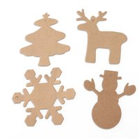 Wholesale Paper Xmas Trees - 100pcs Christmas Gift Parcel Tags Xmas Tree Snowflake Deer Snowman Scalloped Kraft Paper Tag with 20M Rope (Brown)