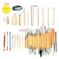 Wholesale Wholesale Pottery Clay - 42Pcs Pottery Carving Tool Set Wooden Clay Sculpting Tools DIY Art Supplies High Quality 55bm C R