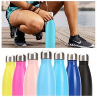 Wholesale bicycle double - 17 Oz Stainless Steel Water Bottles Thermos Cola Shaped Bottle Insulated Double Wall Cup Sports Bicycle Travel Bottles Creative Coke Cups