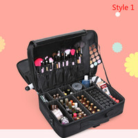 Wholesale large professional makeup cases - High Quality Professional Empty Makeup Organizer Cosmetic Case Travel Large Capacity Storage Bag Suitcases
