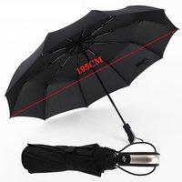 ingrosso ombrelli automatici-Nuova struttura pieghevole maschio completamente automatica tre pieghevole grande struttura resistente al vento 10Ribs Ombrelli neri delicati