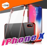 Wholesale Iphone Protective Skins - For iPhone X case soft of TPU Clear case Electroplating Transparent Protective Cover & Skin for iPhone 8 7 plus Samsung