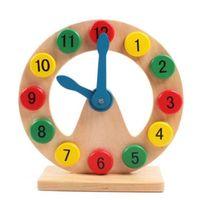 aprendiendo relojes de juguete al por mayor-Montessori Teaching Aids Wooden Learning Clock Niños Niños Juguetes educativos tempranos