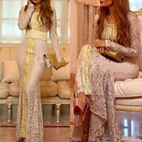 abaya dubai yaptı toptan satış-Fas Kaftan Tam Dantel Uzun Kollu Abiye Resmi Elbiseler 2019 özel Yapmak Altın Nakış Kaftan Dubai Abaya Arapça Durum Balo kıyafeti