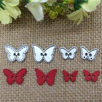 kelebek şablonlar toptan satış-4 adet Kelebek Düğme Metal Kesme Ölür Stencil Scrapbooking Fotoğraf Albümü Kart Kağıt Kabartma Zanaat DIY ücretsiz kargo