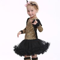 Wholesale girls leopard costume halloween online - Children Kids Halloween Cosplay leopard Costumes Girls dress glove hats socking set Cosplay Clothing for Boys Girls Stage show HC37