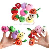 marionetas de frutas vegetales al por mayor-10X Familia FruitsVegetable Finger Puppets Cloth Doll Bebé Juguetes educativos de mano # H055 #