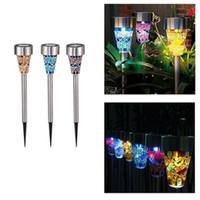 Wholesale Outdoor Light Stakes - DHL Mosaic solar Lawn light Solar LED Garden Lights Outdoor Stake Lights Solar Pathway Lights Landscape Lighting