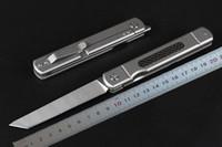 высокоуглеродистые карманные ножи оптовых-High End новый дизайн шарикоподшипник складной нож D2 Сатин Танто лезвие TC4 титанового сплава + углеродного волокна ручка EDC карманные ножи подарок нож