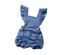 Wholesale Denim Rompers - INS Boys Girls Baby Rompers Summer Fly Sleeve Newborn Onesies Clothing Denim Cute Toddler Romper Boutique Infant Bodysuit Clothes