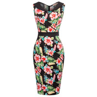 Wholesale sexy work out clothing online - Women Pencil Dresses Vintage s Rockabilly Clothing Floral Summer Casual Cocktail Party Dress Sexy Bodycon Dress Work Wear