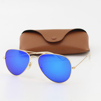 mavi erkek güneş gözlüğü çerçeveleri toptan satış-1 adet Yüksek Kalite Tasarımcı Pilot Moda Erkekler Kadınlar Için Güneş Gözlüğü Marka Vassl Güneş Gözlükleri Mat Altın Çerçeve Mavi Ayna 58mm ile Kahverengi kutu