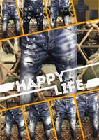 Wholesale modern men shorts - MAN 2018 Summer men's Slim jeans shorts hole patch jeans locomotive times throwing paint beach pants BLUE