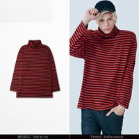 Wholesale Turtleneck T Shirts Short Sleeve - Turtleneck red stripe Tee Fall 2018 new hot basic T-shirt Fashion men hip hop tops long-sleeved loose fit clothing