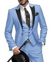 esmoquin rosa morado al por mayor-Sky Blue Italian Classic Purple Tuxedo Groom Prom Pink Dress Vestido de boda Elegant Slim Juego de 3 piezas para hombre