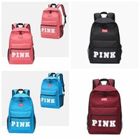 Wholesale school bags unisex - 4 Color PINK Letter Backpacks 2018 Student Fashion Large Female Travel Backpack For School Bag Outdoor Travel Bags CCA9668 10pcs