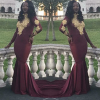 Wholesale Hot Pink Party Girls Dresses - Hot Sell Burgundy Prom Dresses Vintage Long Sleeves Gold Appliques Black Girls 2018 New Party Evening Wear Gowns Plus Size