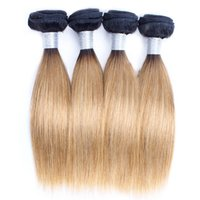 Wholesale short human hair ombre online - 10 inch g pc Ombre Indian Human Hair Weave Bundles Straight Body Wave T b Dark Root Honey Blonde Short Bob Style