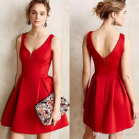 e5128cb466b 2016 Summer Office Lady Style Dresses Pleated Skirt Sleeveless Clothing One Piece  Dress Skirt Professional Women Clothes Deep V-Neck