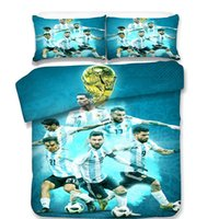 Wholesale pillow people - 2018 World Cups Soccer High Quality 3pcs Bedding Sets Sanding Polyester Colors Bed Sheet Queen King Size Pillow Covers Football Team