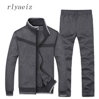 Wholesale two piece men s pants - Rlyaeiz High Quality Men 'S Sets Zipper Jacket +Pants Sportswear 2017 New Casual Sporting Suits Mens Tracksuits Two Pieces Set
