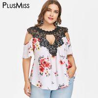 385543ced84ad2 PlusMiss Plus Size 5XL XXXXL XXXL Floral Flower Print Loose Chiffon Blouse  Lace Crochet Boho Cold Shoulder Tops Women Big Size