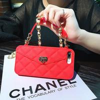 ingrosso caso di lusso del silicone-Hongmeng lusso portafoglio carta morbida copertura della cassa del telefono del silicone per Iphone 6 6s più 7 8 Plus borsa delle donne con catena di perle
