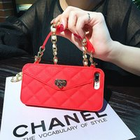 Wholesale pearl phone cases online - Hongmeng Luxury Wallet Card Soft Silicon Phone Case Cover For Iphone s Plus Plus Women Handbag With Pearl Chain