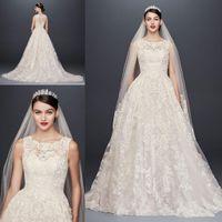 Wholesale cross front wedding dress - Oleg Cassini 2018 Elegant Wedding Dresses O Neck Back Button Lace Appliques A Line Court Train civil Bridal Gown Custom Made