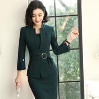 desen elbiseleri tasarlar toptan satış-2018 Yeni Stiller EleUniform Tasarımlar Blazers Kadınlar Için Iki Parçalı Ceket Ile Suits Ve Elbise Iş Iş Elbisesi Setleri