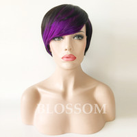 Wholesale human hair wigs side bangs resale online - Ombre Human Hair Wigs With Side Bang Short Ombre Wig Black Red Blue Purple Human Hair Short Bob Wig Popular Style