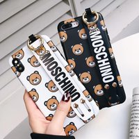 Wholesale bear phones online – Newest Designer Luxury Phone Case for Iphone X XS XR Xs Max plus plus plus TPU IMD Print Bear Wristband Holder Cover Case