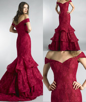 couture formal dresses Canada - Dark Red Long Mermaid Evening Dresses 2018 Off the Shoulder Elegant Lace Ruffles Women Formal Evening Gowns Couture Custom Made