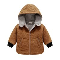 Wholesale Boys Corduroy Coats - Baby boy coat Jackets Warm cotton quilted Dimond Hooded jacket Baby clothing 2017 winter 9months-3years