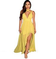 36fd5e3f74d2b Sexy Maxi Kleid High Schlitz Strap Deep V Neck Split Kleider Frauen 2018  Sommer Backless Chiffon Langes Kleid vestido