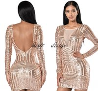 Wholesale Crystal High Low Cocktail Dress - In Stock Rose Gold Sequin Short Cocktail Party Dresses with Long Sleeve 2018 Low Back Mini Prom Occasion Dress Cheap