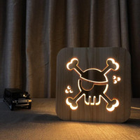 iluminación de barco pirata al por mayor-Lámpara de madera pirata 3D Luz blanca cálida Luz USB Powered DC 5V USB Powered Dropshipping al por mayor Envío gratuito