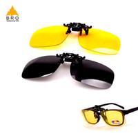 clip nachtsichtbrille großhandel-Radfahren Clip auf Brille mit Box Super Light polarisierte Sonnenbrille Clip auf gelb Night Vision Brille Männer Frauen Radfahren Brille