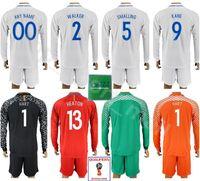 Wholesale football uk - England Long Sleeve Jersey Set 2018 World Cup UK 9 KANE 5 STONES 2 WALKER 1 PICKFORD 1 HART Goalkeeper Football Shirt Kits Uniform Red White