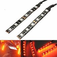 ingrosso striscia di ambra gialla-1 paio di indicatori LED per indicatori di direzione lampeggianti ambra 6 SMD LED per moto