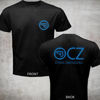 moda checa venda por atacado-2018 Moda venda Quente Nova CZ Ceska Zbrojovka Checa Armas de fogo t shirt tee 2 lados camiseta