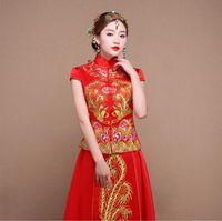 toast weinlese großhandel-Braut Herbst Kleidung Vintage chinesischen Stil Hochzeit Kleid Retro Toast Kleidung Stickerei Phoenix Kleid Ehe Cheongsam Qipao