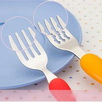 Wholesale small steel spoon - Lot4pcs set Cartoon Safety Portable Piggy Pig Spoon Fork Set Tableware Baby Kids Lovely Stainless Steel Small Tableware Great Gift