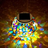 wasserdichte farbkugel großhandel-LED Solar Im Freien Wasserdichte Solar Mosaik Glaskugel Tischleuchte Farbwechsel Solar Lampen Dekorative LED Nachtlichter