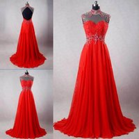 Wholesale turkey lighting - Latest High Neck Red Mermaid Evening Dresses Turkey Chiffon Backless Beaded Sexy Elegant Formal Evening Gown