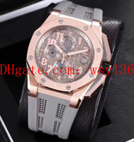 Wholesale new rope watch for sale - Group buy Luxury Men s Date Watch Royal Oak Offshore k Rose Gold And Steel Quartz Chronograph Mens Watch Rubber Rope Smoke Grey Men s Wrist Watches