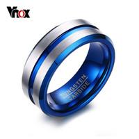 wolframlinie großhandel-VNOX Dünne Blaue Linie Wolfram Ring Hochzeit Marken 8 MM Wolframcarbid Ringe für Männer Schmuck Y1891205