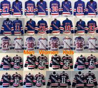 guardabosques jersey kreider al por mayor-New York Rangers Jerseys Hockey 30 Henrik Lundqvist 36 Tapetes Zuccarello 76 Brady Skjei 20 Chris Kreider Mika Zibanejad JT Miller Azul Blanco